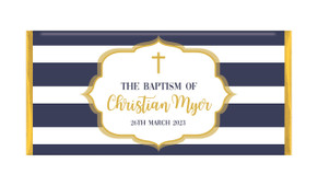 Bold Stripe And Gold Christening Chocolate Bar