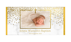 Gold Confetti On Marble Custom Christening Chocolate Bar
