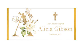 Monogram Rose Personalised Christening Chocolate Bar