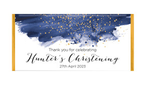 Watercolour Confetti Christening Custom Chocolate Bar