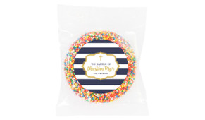 Bold Stripe And Gold Personalised Christening Chocolate Freckle