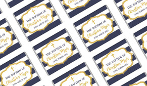 Bold Stripe And Gold Custom Christening Mini Chocolates