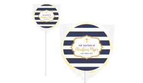 Bold Stripe And Gold Personalised Christening Lollipop