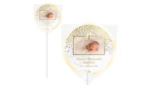Gold Confetti On Marble Custom Christening Lollipop