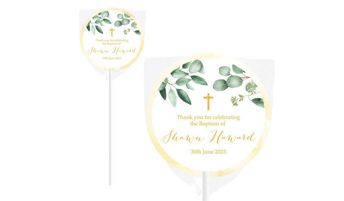 Gum Leaves And Gold Custom Christening Lollipop