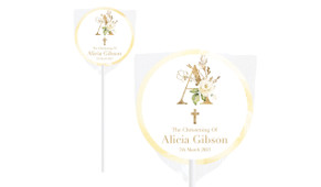 Monogram Rose Personalised Christening Lollipop