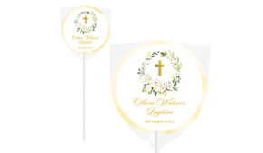 Rose Wreath Personalised Christening Lollipop