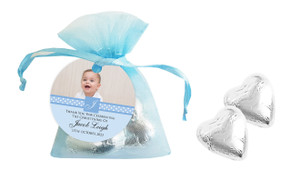 Initial Photo In Blue Christening Organza Bag With Hearts