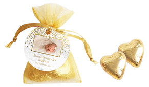 Gold Confetti On Marble Custom Christening Organza Bag With Hearts