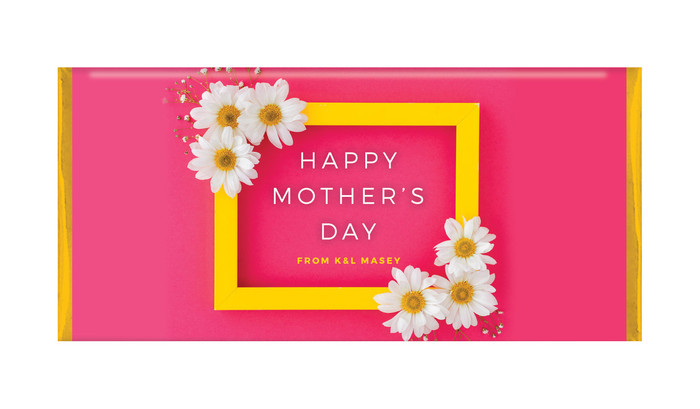 Daisies on Pink Mother's Day Personalised Chocolates