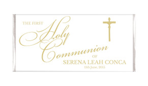 Gold Writing Communion Personalised Chocolates