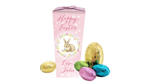Pink Floral Bunny Personalised Easter Egg Chocabox