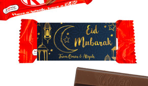 Gold On Navy Eid Mubarak Custom 2-Finger Kit Kat