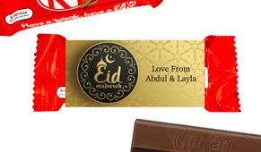 Gold Pattern Eid Mubarak Custom 2-Finger Kit Kat
