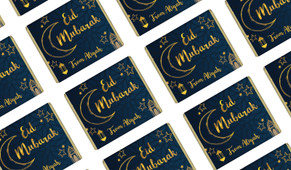 Gold On Navy Personalised Eid Mubarak Mini Chocolates