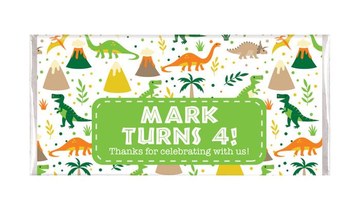 Dinosaur Background Personalised Birthday Chocolate Bar