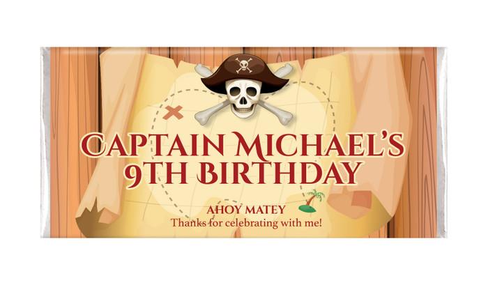 Pirate Treasure Map Personalised Birthday Chocolate Bars