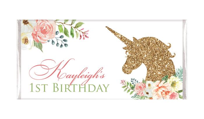 Golden Unicorn Personalised Birthday Chocolate Bars