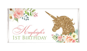 Golden Unicorn Personalised Birthday Chocolate Bars