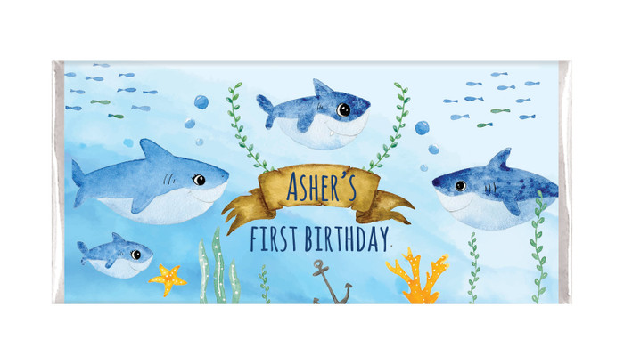 Shark Family Personalised Birthday Chocolate Bars