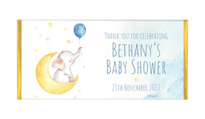 Elephant Moon Baby Shower Personalised Chocolate Bar