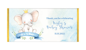 Sitting Elephants Baby Shower Personalised Chocolate Bar