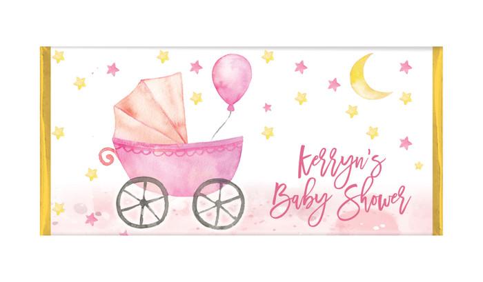 Pram In Pink Baby Shower Personalised Chocolate Bar
