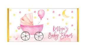 Pram In Pink Baby Shower Personalised Chocolate Bar
