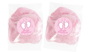 Baby Feet In Pink Personalised Bags Of Fairy Floss