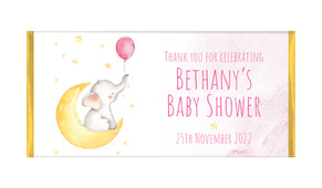 Elephant Moon Pink Baby Shower Personalised Chocolate Bar