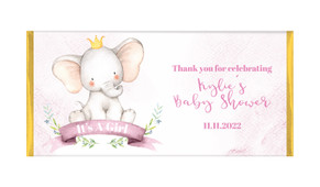 Sitting Elephants Pink Baby Shower Personalised Chocolate Bar