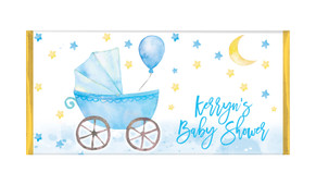 Pram In Blue Baby Shower Personalised Chocolate Bar
