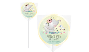 Elephant And Friend Baby Shower Personalised Lollipop