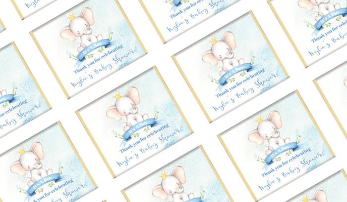Sitting Elephant Blue Custom Baby Shower Mini Chocolates