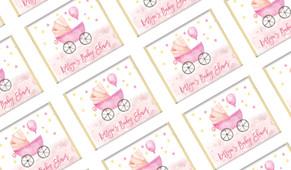 Pram In Pink Personalised Baby Shower Mini Chocolates