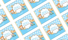 Baby Toys On Blue Custom Baby Shower Mini Chocolates