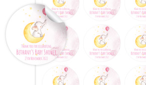Elephant Moon Pink Personalised 65mm Labels