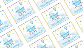 Pram In Blue Personalised Baby Shower Mini Chocolates