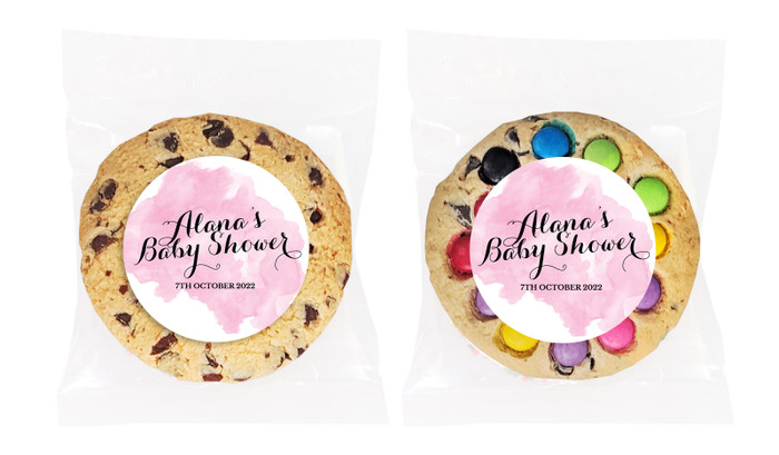 A Splash Of Watercolour Pink Personalised Cookie