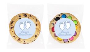Baby Feet in Blue Baby Shower Personalised Cookie
