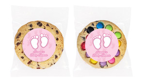 Baby Feet in Pink Baby Shower Personalised Giant Cookie