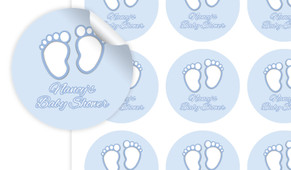 Baby Feet In Blue Baby Shower Personalised 65mm Labels