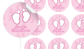 Baby Feet In Pink Baby Shower Personalised 65mm Labels