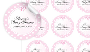 Polkadot On Pink Baby Shower Personalised 65mm Labels