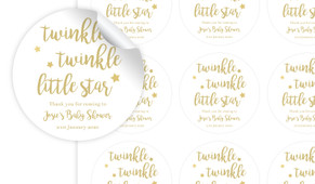 Twinkle Twinkle Baby Shower Personalised 65mm Labels