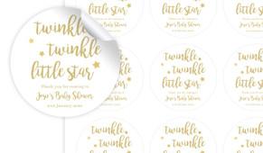 Twinkle Twinkle Baby Shower Personalised 65mm Labels