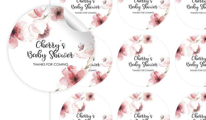 Cherry Blossoms Baby Shower Personalised 65mm Labels