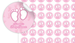 Baby Feet In Pink Baby Shower Personalised 25mm Labels