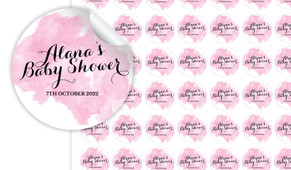 A Splash Of Watercolour Pink Personalised 25mm Labels