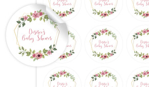 Floral Hexagons Baby Shower Personalised 65mm Labels